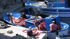 Fishermen at work Stock Footage