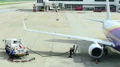 Stock Video Footage of Refueling a Plane at and Airport