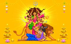 Happy Dussehra with goddess Durga - stock illustration