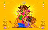 Stock Illustration of Happy Dussehra with goddess Durga