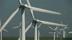 Close up wind turbines - stock footage