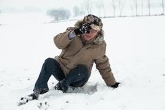 Senior man winter accident Stock Photos