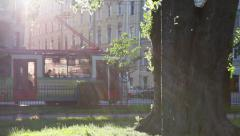 Tram on the street. June in the City, St. Petersburg, Russia Stock Footage