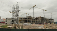 Construction of a building. Time-lapse shot Stock Footage