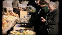 414 - post war German outdoor market - vintage film home movie Stock Footage