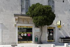 post office in sumartin on brac island, dalmatia, croatia - stock photo