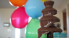 Chocolate fountain at birthday party Stock Footage