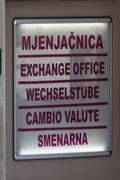 Money exchange office sign, makarska, croatia Stock Photos