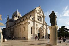 Stock Photo of statue of jurai dalmatinak by cathedral of st jacob, sibenik, croatia