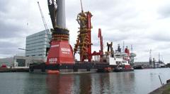 Deepwater construction vessel DCV Aegir equipment installation Stock Footage