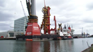 Stock Video Footage of deepwater construction vessel DCV Aegir equipment installation