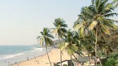 India Goa Vagator beach February 20, 2013. Seaside panorama view. Stock Footage
