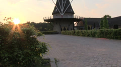 Dutch windmill at dusk - stock footage