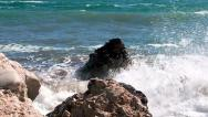 Stock Video Footage of Sea waves hitting the rocks