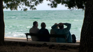 Stock Video Footage of Old people looking to the sea waves