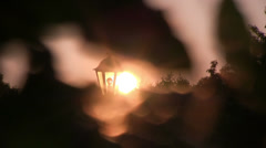 Old lantern at sunset Dolly shot Stock Footage