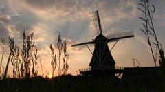 Dutch windmill at dusk, slider shot Stock Footage