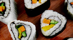 California Roll with Avocado and Salmon Stock Footage