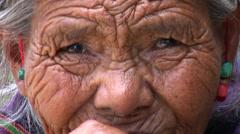 Old Tibetan woman Stock Footage