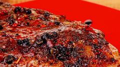 savory on red plate: grilled meat - stock footage