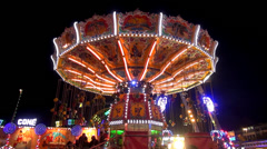 Chairoplane on fair Stock Footage