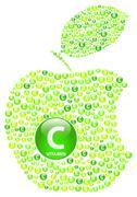 Green Apple Vitamin C Bite - stock illustration