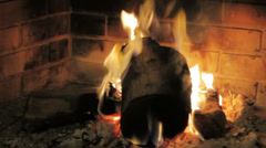 A burning fireplace with wood fire Stock Footage