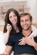 Happy affectionate young couple Stock Photos