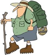 Hiker with a backpack Stock Illustration