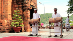 Local folk music show at Po Nagar towers Stock Footage