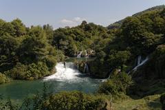 Waterfalls cascades, krka np, dalmatia, croatia, europe Stock Photos