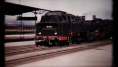 Post war German train station, 411 vintage film home movie Stock Footage