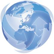 Globe with arrows on white background, close up Stock Illustration