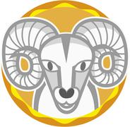 Stock Illustration of astrological sign of aries on white background, close up
