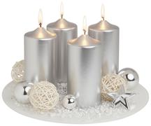 Advent wreath in silver on white background, close up Stock Illustration