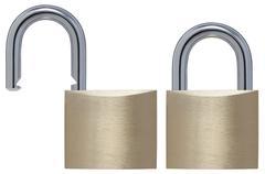 Stock Photo of locked and unlocked padlock against white background, close up