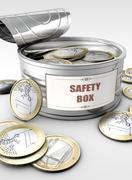 Tin can with coin Stock Illustration