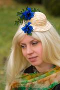 Stock Photo of attractive woman with a beautiful headdress