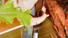 Roastbeef on plate with salad bowl Stock Footage