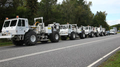 Line of trucks Stock Footage