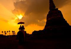 sunset rural thailand. - stock photo