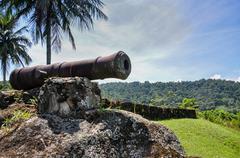 historical cannon used to combat pirates at paraty, rio do janeiro, brazil. - stock photo