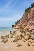 Impressive clay cliff at morro do sao paulo island, bahia, brazil. Stock Photos