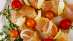 Raw chicken shish kebab Stock Footage