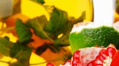 Sweet fruits with tea pot Stock Footage