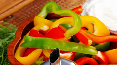 Peppers and sour cream Stock Footage