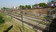 Stock Video Footage of Pan shot of railroad track