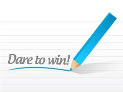 dare to win written on a white paper - stock illustration