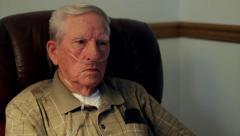 Elderly man on oxygen CU.mp4 Stock Footage