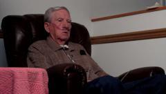 elderly man on oxygen WIDE.mp4 - stock footage